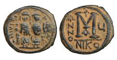 Ancient Coins - Justin II 565-578 AD AE Follis Nikomedia Desert Patina Nearly extremely fine \ Byzantine Coins