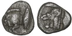 Ancient Coins - Kyzikos, Mysia. 500-490 AD. AR Hemiobol.  XF