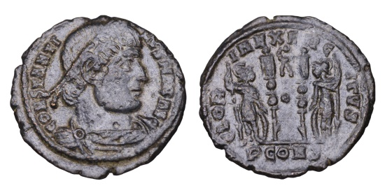 Ancient Coins - CONSTANTINE I THE GREAT 307-337 AD AE NUMMUS GLORIA EXERCITVS; in ex. PCONST Constantinople mint