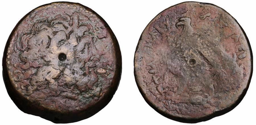 Ancient Coins - EGYPT ALEXANDRIA PTOLEMY II 285-246 BC BRONZE 71,61 gr VF+