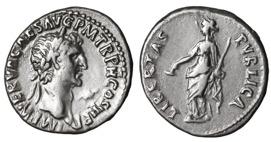 Ancient Coins - Nerva. 96-98 AD. Denarius LIBERTAS PVBLICA EXTREMELY FINE PORTRAIT
