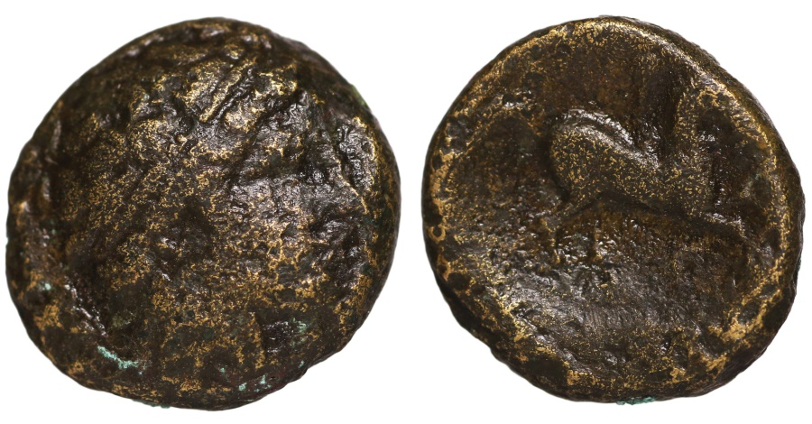 Ancient Coins - Philip II. 359-336 BC. AE17. Apollo right \ Naked youth on horse