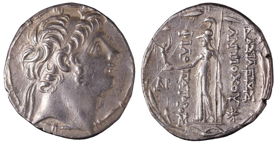 Ancient Coins - SELEUCID Antiochos IX Eusebes Philopator. AR Tetradrachm Ptolemaïs (Ake) mint. Struck circa 113-107 BC