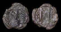 Ancient Coins - JUSTIN I. 518-527 AD. Follis. Constantinople mint. F. Brown patina.