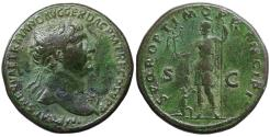 Ancient Coins - Trajan. 98-117 AD. AE Sestertius.  Full legend. XF+ \ Roma standing left