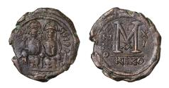 Ancient Coins - Justin II AE Follis AD 574/575 Mint of Nicomedia  Very fine brown patina Good struck