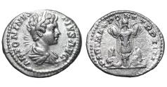 Ancient Coins - Caracalla. 196-217 AD. Denarius. two Persians bound SCARCE EF Roman coin