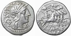 Ancient Coins - Porcia M. Porcius Laeca 125 BC Silver Denarius XF \ Roman republic