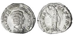 Ancient Coins - Julia Domna Denarius Struck under Caracalla 211-217 AD VF\XF DIANA LVCIFERA Roman Coins