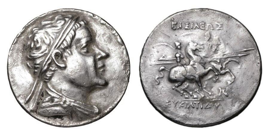 Ancient Coins - BAKTRIA. 170-145 BC. Eukratides I Megas. AR Tetradrachm