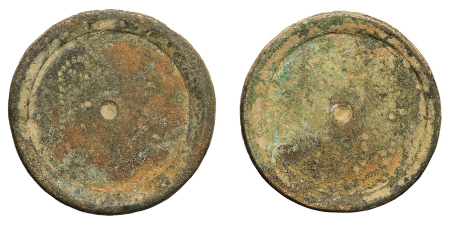 Ancient Coins - Byzantine bronze weight. 6th century AD. Weight of 6 Solidus. 26,5 gr. 27,4 mm.