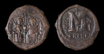 Ancient Coins - Justin II AD 565-578. AE.Follis, struck AD 575/576.Mint of Theupolis (ANTIOCH) officina letter Γ