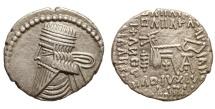 Parthian Kingdom. Vologases III. Ca. A.D. 105-147. AR drachm EF.