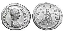 Ancient Coins - Plautilla. 202-205 AD. AR Denarius Near mint state. Scarce.