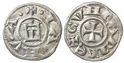 World Coins - Italy Genova Republic. 1139-1339 AD. Denar \ Stylized castle\ aUNC