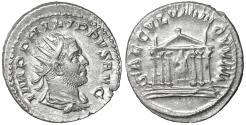 Ancient Coins - Philip I. 244-249 AD. AR Antoninianus. Rome, AD 249. XF \ Hexastyle temple