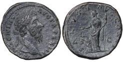 Ancient Coins - Marcus Aurelius 161-180 AD AE Sestertius XF Salus \ Roman Coins