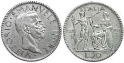 World Coins - Italy Kingdom Vittorio Emanuele III 20 lire 1927 UNC+