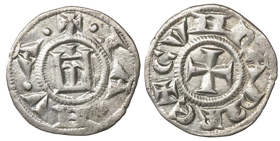 World Coins - Italy Genova Republic. 1139-1339 AD. Denar \ Stylized castle\ aUNC