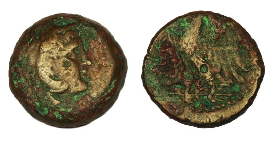 Ancient Coins - Egypt, Ptolemy I AE23 Hemiobol. 10,60 gr. - 23,6 mm.