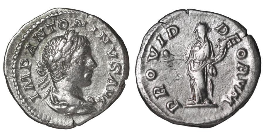 Ancient Coins - ELAGABALUS 218-222 AD. DENARIUS PROVIDENTIA EXTREMELY FINE