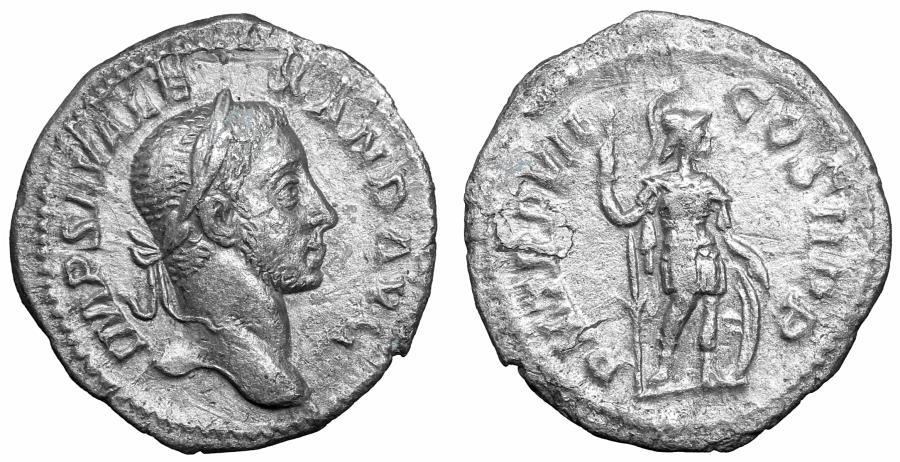 Ancient Coins - Severus Alexander AR Denarius Rome AD 222 aXF Mars