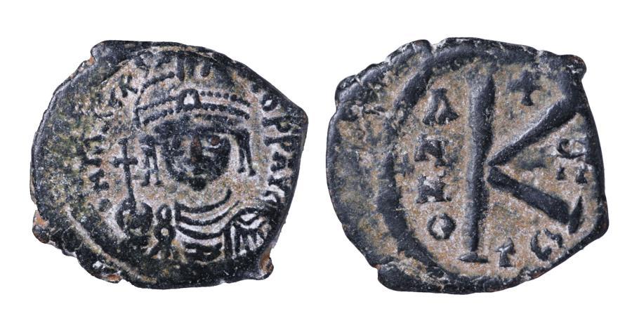 Ancient Coins - MAURICE TIBERIUS 582-602 AD AE HALF FOLLIS 20 NUMMI. 587 AD XF