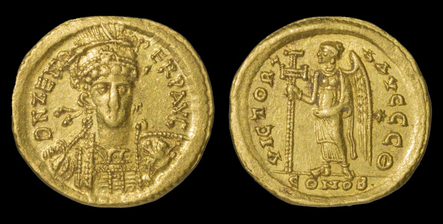 Ancient Coins - ZENO. Second reign 474-491 AD. SOLIDUS CONSTANTINOPLE MINT 9TH OFFICINA