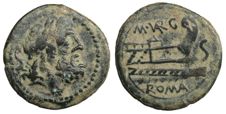 Ancient Coins - M Vargunteius. AE Semis. 130 BC. Rare. Near UNC