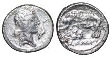 Ancient Coins - Q. Caecilius Metellus Pius. 81 BC. Denarius. Spanish mint. Elephant walking left