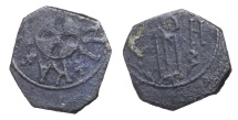 World Coins - SICILY RUGGERO II 1127-1154 AD. 1/2 FOLLARO MESSINA MINT CUPHIC LEGEND