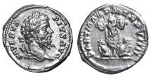Ancient Coins - Septimius Severus. 193-211 AD. AR denarius trophy between two captives VF/XF