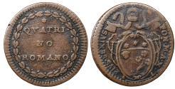 World Coins - Papal States Rome Pius VI 1775 -1799 Quattrino VF\XF