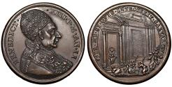 World Coins - Papal States. Benedetto XIII. 1724-1730. Medal 1725 Jubileum. Bronze Rare. MS, collection patina