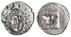 Ancient Coins - CARIA. Rhodos. Hemidrachm. Magistrat Diognetos 125-88 AD \ RARE. Extremely fine