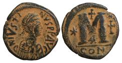 Ancient Coins - Justin I AE follis 518-527 AD Constantinople VF+ \ Byzantine Coins