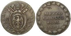 World Coins - Papal States BOLOGNA Pope Leo XII 1823-1829 1/2 baiocco 1824 XF