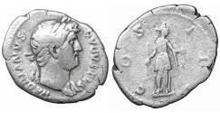 Ancient Coins - Hadrian AD 117-138 AR denarius VF+ Diana
