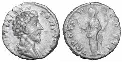 Ancient Coins - Marcus Aurelius As Caesar AD 139-161 AR denarius Felicitas VF