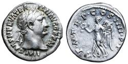 Ancient Coins - Trajan. 98-117 AD. Denarius. \ Victory  Roman coin