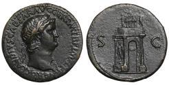 Ancient Coins - Nero AE Sestertius 64 AD Rare XF Great Portrait Dark Patina Roman Coin Sesterz Nero's triumphal arch