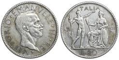 World Coins - Italy Vittorio Emanuele III 20 Lire 1928 UNC