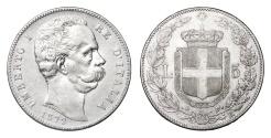 World Coins - ITALY UMBERTO I°. 5 LIRE 1879. aXF