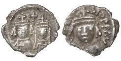 Ancient Coins - HERACLIUS, with MARTINA. 610-641 AD. Carthage mint. AR Half Siliqua. Exceptional metal for issue. R2