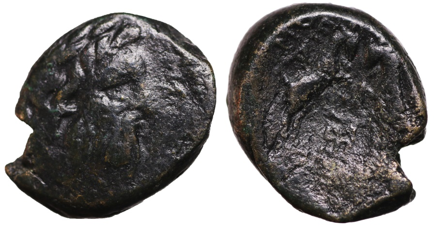 Ancient Coins - Thessalonica, Macedonia, AE22. Zeus right\ two goats butting heads