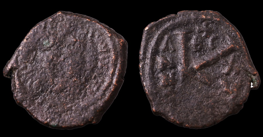 Ancient Coins - Maurice Tiberius. 582-602 AD. AE Half Follis. Thessalonica Mint. Struck in 592/593 AD  RARE. F. Sear -