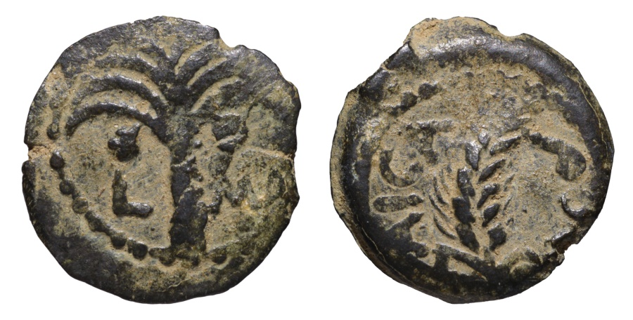 Ancient Coins - Judaea Procurators M. Ambibulus 9-12 AD AE Prutah Jerusalem mint Dated Year 41 of Augustus 10/11 AD.