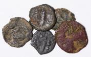 Ancient Coins - Lot of 5 Jewish Prutah: 2 Herod I the Great, 1 Herod Agrippa, 1 First revolt, 1 Valerius Gratus