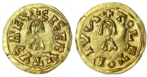 Ancient Coins - Visigoth. Sisebut. 612-621 AD. Gold Tremissis.  Toleto (Toledo). Extremely fine