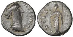 Ancient Coins - Diva Faustina Junior. AD 176 AE Limes Denarius. Rome Scarce. VF\XF